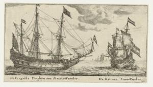 Bron: rijksmuseum, ca 1653, twee koopvaardijschepen die op dezelfde route voeren als de schepen op de gevelstenen van Sexbierum, eveneens met bewapening.