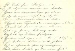 Openingsregels van gedicht 'It buoike fen Seisbjirrum', 1914.