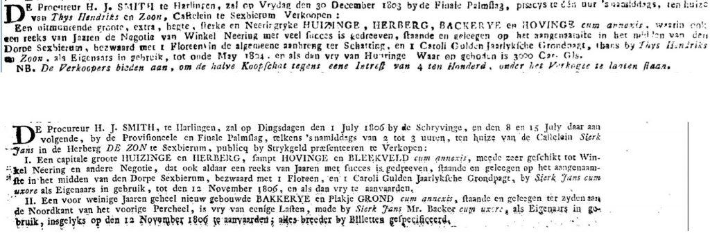Advertenties Leeuwarder Courant 24-12-1803 en 21-06-1806