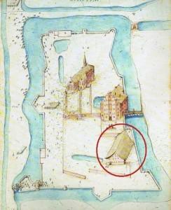 Plattegrond Klooster Lidlum uit de atlas van Caspar de Robles ca 1572