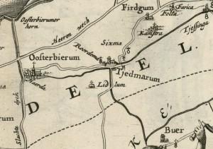 Klooster Lidlum in 1664 uit de atlas van Schotanus